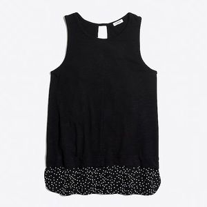 j.crew black polka dot hem layered tank top
